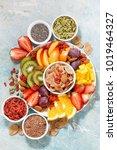 fresh seasonal fruits and... | Shutterstock . vector #1019464327