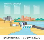 hydro power plant  hydro energy ... | Shutterstock .eps vector #1019465677