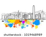 colorful hong kong skyline... | Shutterstock .eps vector #1019468989