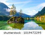 wonderful autumn of hintersee... | Shutterstock . vector #1019472295