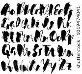 handdrawn dry brush font....   Shutterstock .eps vector #1019474041