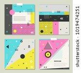 memphis style texture  pattern... | Shutterstock .eps vector #1019474251