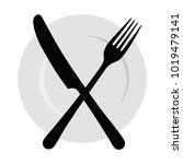 plate with a fork and knife.... | Shutterstock .eps vector #1019479141