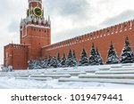 moscow kremlin with spasskaya... | Shutterstock . vector #1019479441