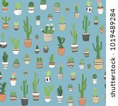 hand drawn different cactuses... | Shutterstock .eps vector #1019489284