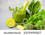 smoothies of green vegetables... | Shutterstock . vector #1019490007