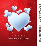 simple heart design vector... | Shutterstock .eps vector #1019491015