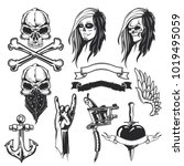 set of tatto elements for...   Shutterstock .eps vector #1019495059