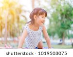 asian child girl playing on...   Shutterstock . vector #1019503075
