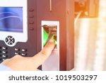 hand a man finger scan on... | Shutterstock . vector #1019503297
