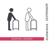 hospital patient vector icon on ... | Shutterstock .eps vector #1019503639