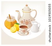kettle  cup of tea and... | Shutterstock .eps vector #1019505055