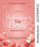 valentines day party invitation ... | Shutterstock .eps vector #1019506921