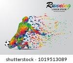 visual drawing soccer sport at... | Shutterstock .eps vector #1019513089