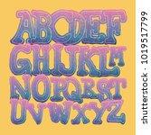 set hand drawing alphabet.... | Shutterstock .eps vector #1019517799