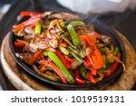 mexican food. beef fajitas  ... | Shutterstock . vector #1019519131