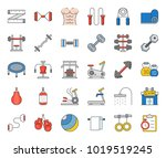 gym equipment and fitness icon  ... | Shutterstock .eps vector #1019519245