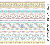 set of cute borders for easter ... | Shutterstock .eps vector #1019524621