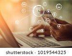 businesswoman hands holding... | Shutterstock . vector #1019544325
