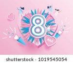happy women's day celebration... | Shutterstock .eps vector #1019545054
