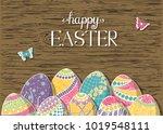 hand drawn easter eggs...   Shutterstock .eps vector #1019548111