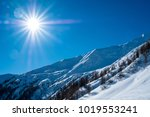 glaring sun over snow covered... | Shutterstock . vector #1019553241