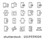 mobile line icon set. included... | Shutterstock .eps vector #1019559034