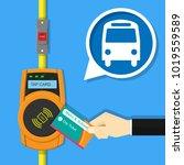 card ticket validation scanning ... | Shutterstock .eps vector #1019559589