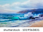 blue  tropical sea and beach... | Shutterstock . vector #1019563831