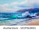 blue  tropical sea and beach... | Shutterstock . vector #1019563831