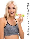 woman in sportswear with... | Shutterstock . vector #1019566714