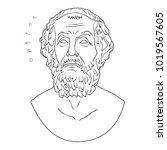 ancient greek bust of the poet...   Shutterstock .eps vector #1019567605