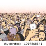 stylized drawing of party crowd ... | Shutterstock .eps vector #1019568841
