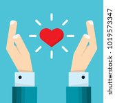 hand of businessman holds a... | Shutterstock .eps vector #1019573347