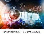 digital business interface on... | Shutterstock . vector #1019588221