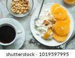 healthy light breakfast ... | Shutterstock . vector #1019597995
