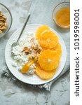 healthy light breakfast ... | Shutterstock . vector #1019598001
