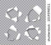 set of realistic holes in sheet ... | Shutterstock .eps vector #1019598511