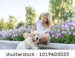 beautiful girl playing with a...   Shutterstock . vector #1019603035