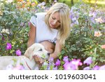beautiful girl playing with a...   Shutterstock . vector #1019603041