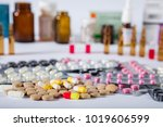 medicine pills in packs pills... | Shutterstock . vector #1019606599