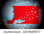 valentine day kiss of flying... | Shutterstock . vector #1019609077