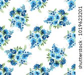 lovely bouquets of blue flowers ... | Shutterstock . vector #1019623201