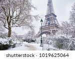 scenic view to the eiffel tower ... | Shutterstock . vector #1019625064