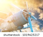 plane with propeller on... | Shutterstock . vector #1019625217