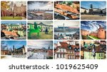 warsaw famous sights and... | Shutterstock . vector #1019625409