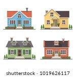 set of 4 different residential... | Shutterstock .eps vector #1019626117