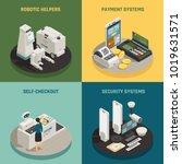 commercial robotic helpers in... | Shutterstock .eps vector #1019631571