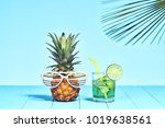 tropical pineapple hipster with ... | Shutterstock . vector #1019638561