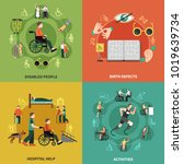 disabled person icon set with... | Shutterstock .eps vector #1019639734